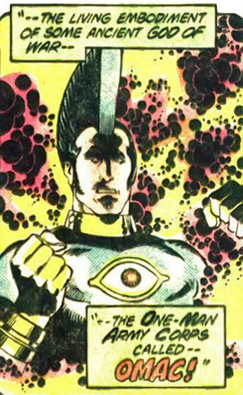 Jack Kirby's OMAC (DC Comics) glowing with energy