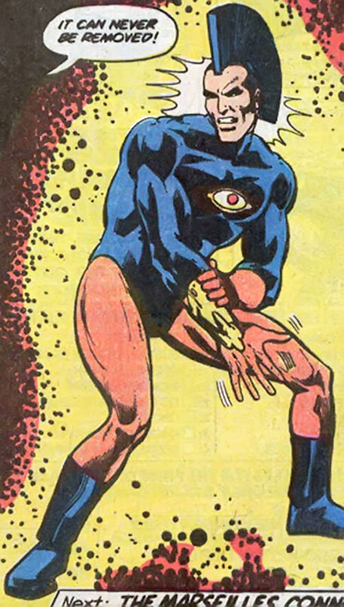 Jack Kirby's OMAC (DC Comics) with a yellow trapped bracer