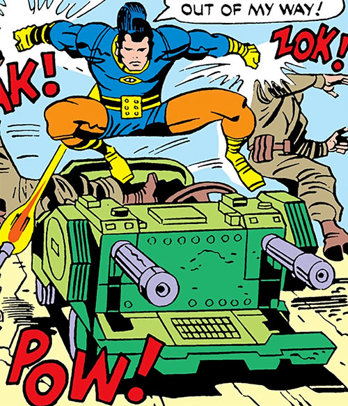 Jack Kirby's OMAC (DC Comics) jumps from a strange car