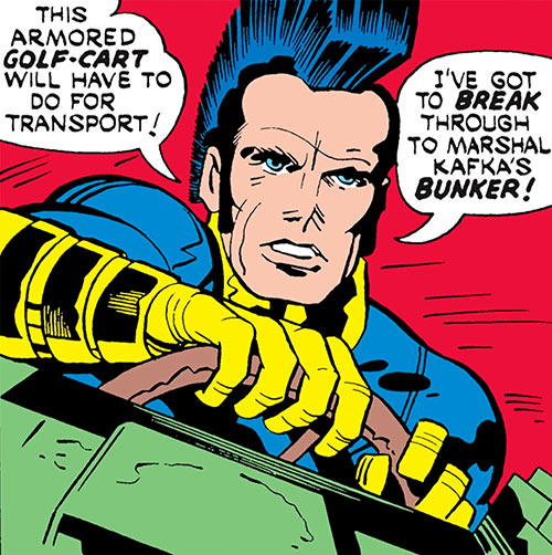 Jack Kirby's OMAC (DC Comics) behind the wheel
