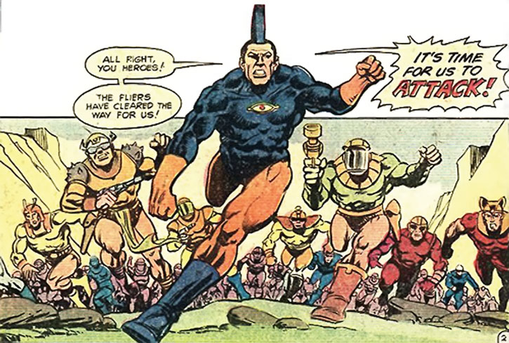OMAC leads an army during an assault