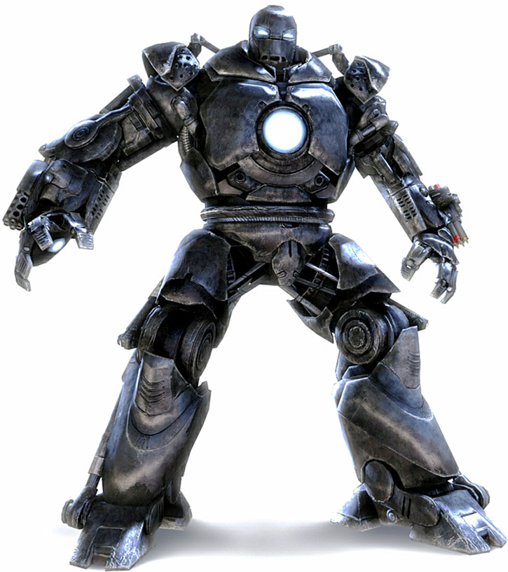 Obadiah Stane (Jeff Bridges)'s big Iron man armor on a white background