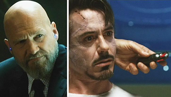 Obadiah Stane (Jeff Bridges) takes out Tony Stark with a sonic paralyzer