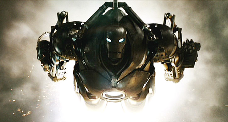 Obadiah Stane flying his armor suit