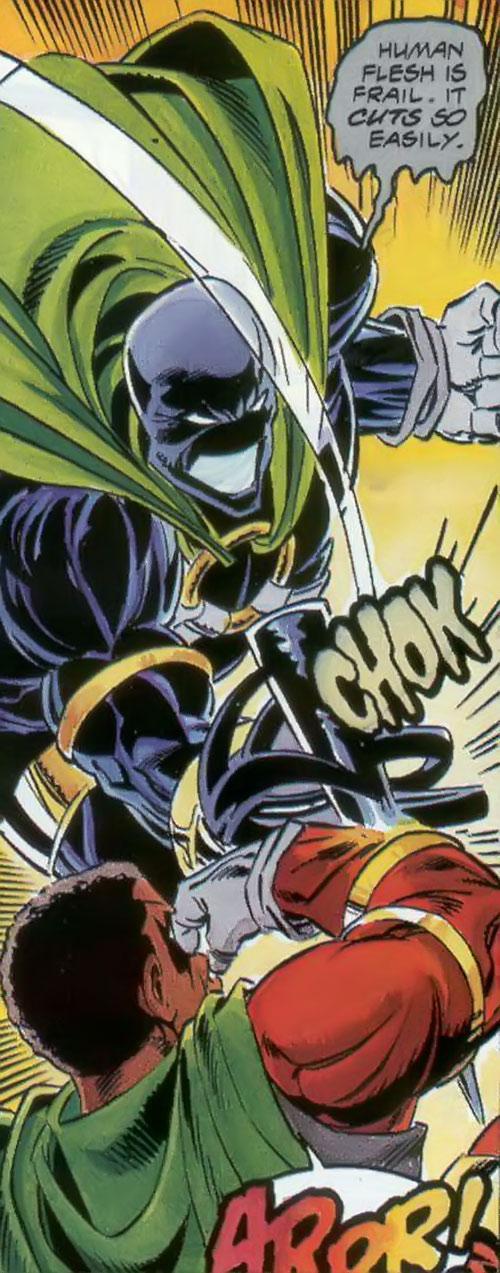 Oblivion (Icon enemy) (Milestone Comics) impales Icon's arm