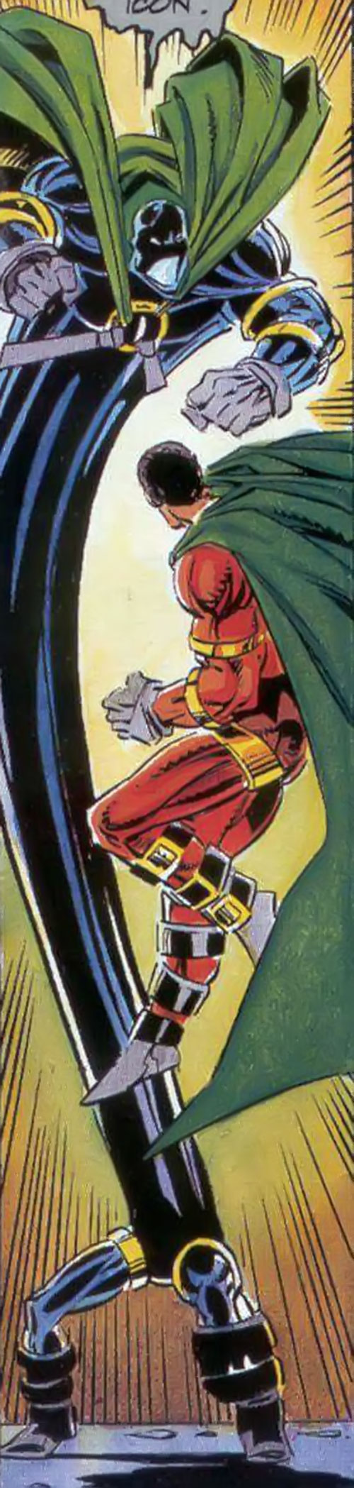 Oblivion (Milestone Comics) stretching its body to fight Icon