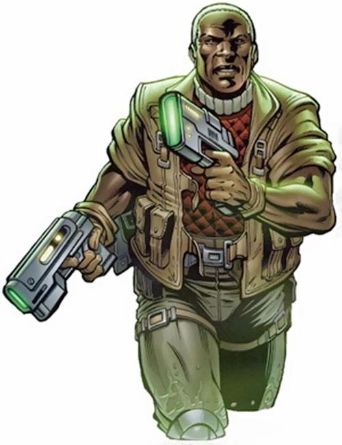 Obregon Kaine (Negation Crossgen comics) dual-wielding blaster pistols