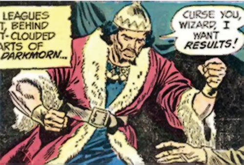 Occulas of the Yellow Eye (Claw the Unconquered enemy) (DC Comics) in royal garb