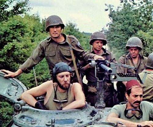 Sergeant Oddball (Donald Sutherland in Kelly's Heroes) with his crew and allies