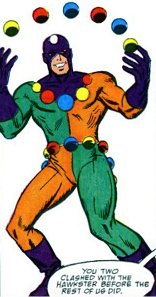 Oddball of the Death-Throws (Hawkeye enemy) (Marvel Comics) with multicolored balls