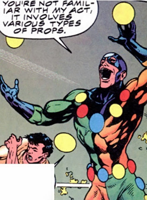 Oddball of the Death-Throws (Hawkeye enemy) (Marvel Comics) juggling yellow balls