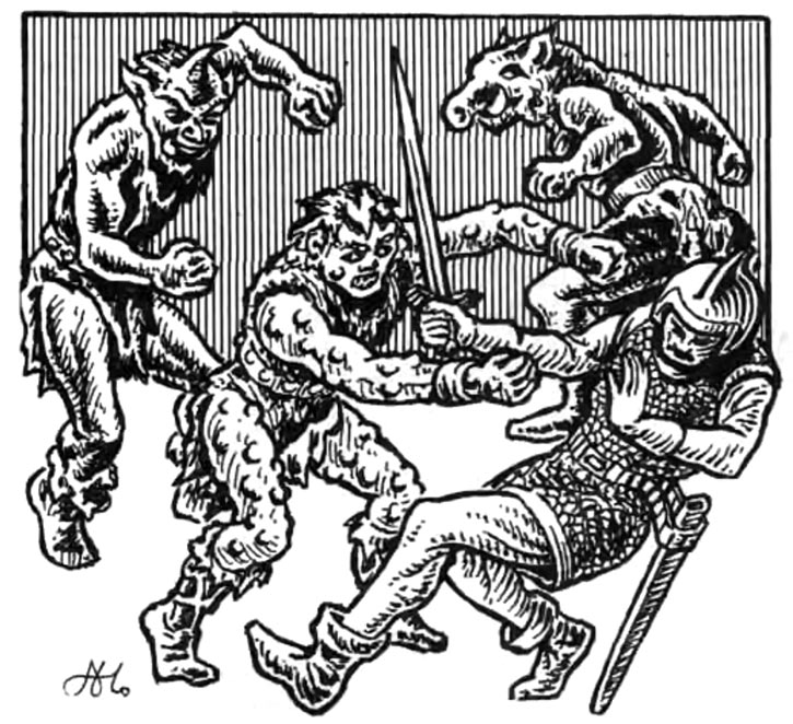 Ogrillons fighting, from the AD&D 1st edition Fiend Folio