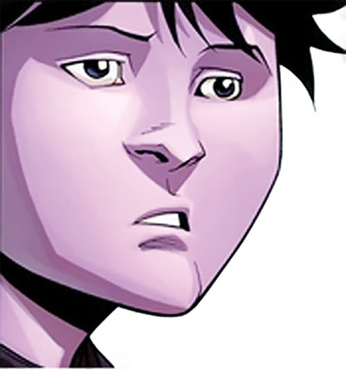 Oliver Grayson (Kid / Young Omni-Man) (Invincible Comics) purple face closeup queasy expression