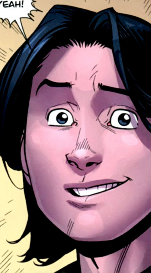 Oliver Grayson (Kid / Young Omni-Man) (Invincible Comics) purple face closeup