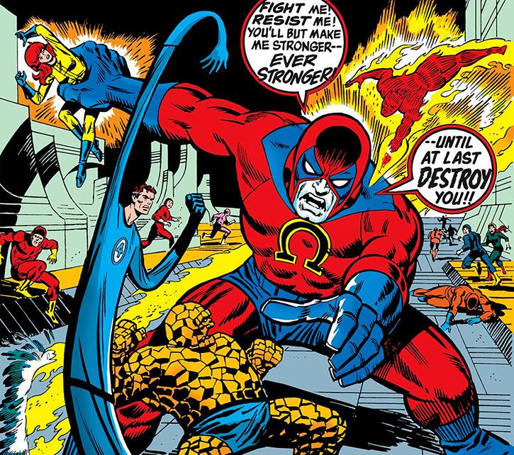 The Omega giant vs. the Fantastic Four (Marvel Comics)