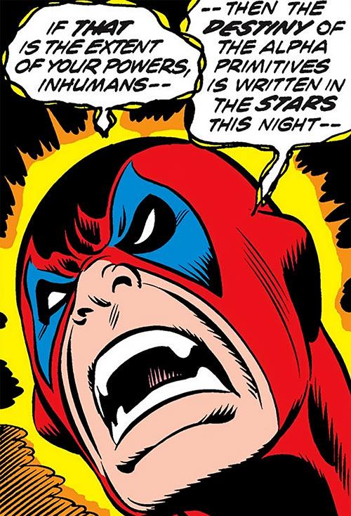 Omega (Inhuman construct, Fantastic 4 enemy) (Marvel Comics) face closeup