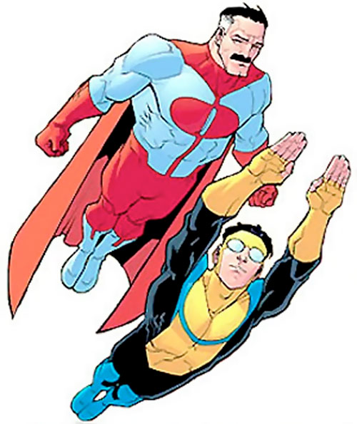 Omni-Man (Invincible character) (Image Comics) flying along with his son