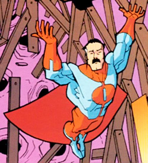 Omni-Man (Invincible character) (Image Comics) among collapsing I-beams