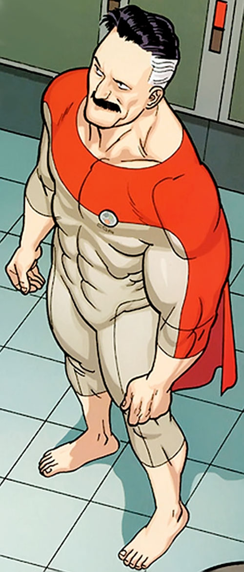 Omni-Man (Invincible character) (Image Comics) barefoot in an off-white costume
