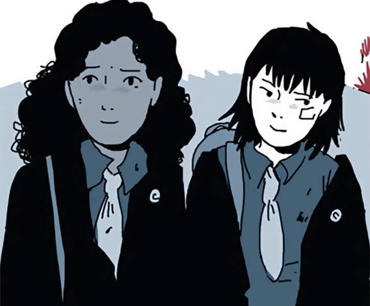 On a sunbeam - Tillie Walden - Grace and Mia schoolgirl uniforms