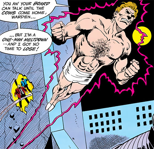 One-Man Meltdown (Batman and the Outsiders enemy) (DC Comics) flying in his briefs