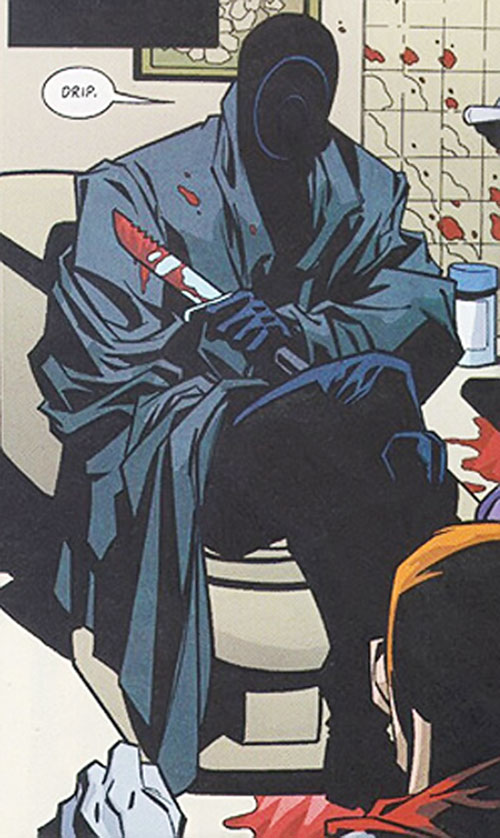 Onomatopoeia (DC Comics) with a bloody knife
