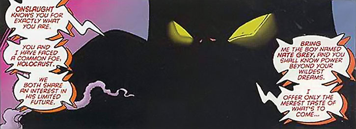 Onslaught's shadowed face