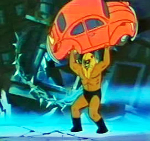 Ookla the Mok (Thundarr the Barbarian cartoons) lifting a Volkswagen Beetle