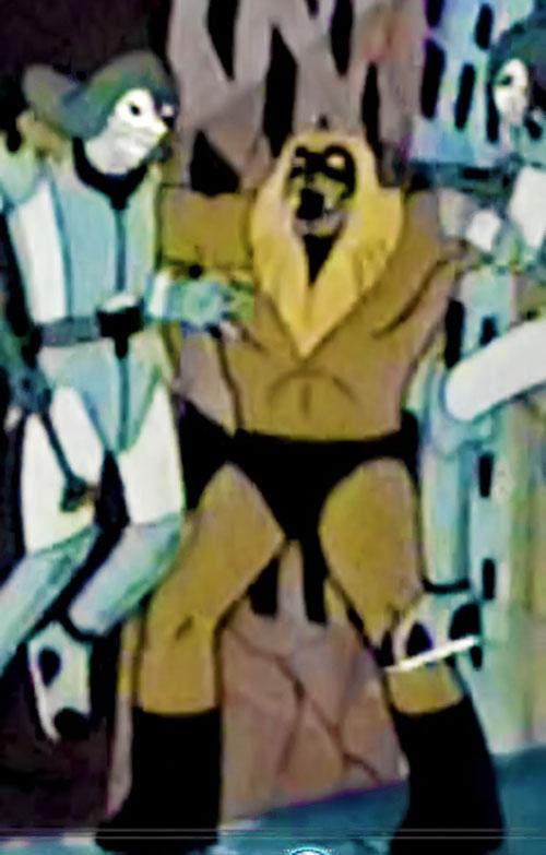 Ookla the Mok (Thundarr the Barbarian cartoons) fighting 2 guys