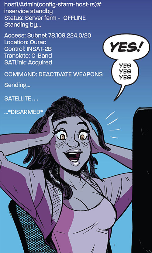 Operator (Frankie Charles) - Batgirl of Burnside - DC Comics - Disarming satellite command lines