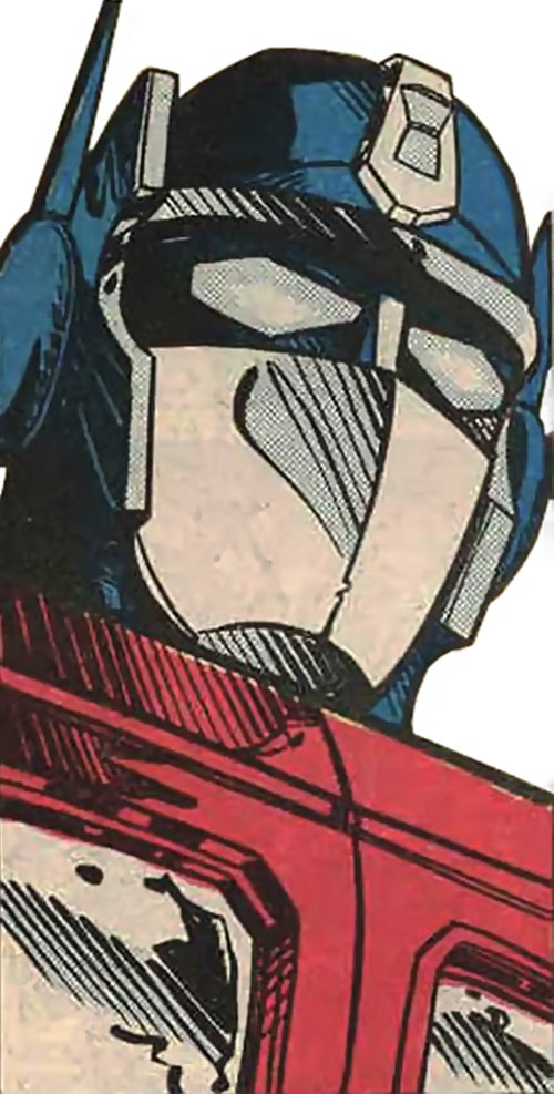 Optimus Prime of the Transformers in the G1 Marvel Comics face closeup