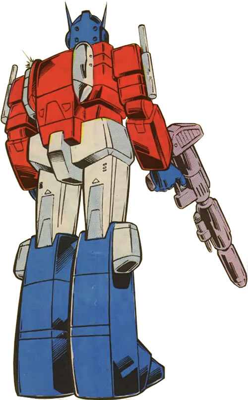 Optimus Prime of the Transformers in the G1 Marvel Comics back view