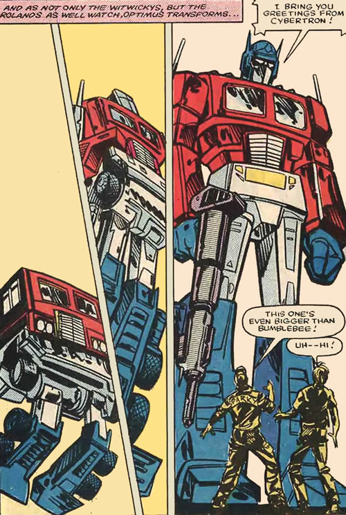 Optimus Prime of the Transformers in the G1 Marvel Comics transforming