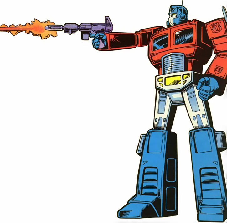 Optimus Prime of the Transformers in the G1 Marvel Comics shooting