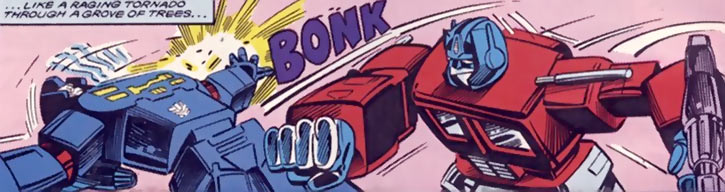 Optimus Prime of the Transformers in the G1 Marvel Comics punching a blue Decepticon