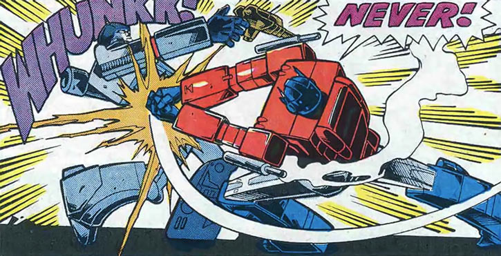 Optimus Prime of the Transformers in the G1 Marvel Comics vs. Megatron