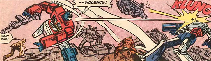 Optimus Prime of the Transformers in the G1 Marvel Comics throws a big thing