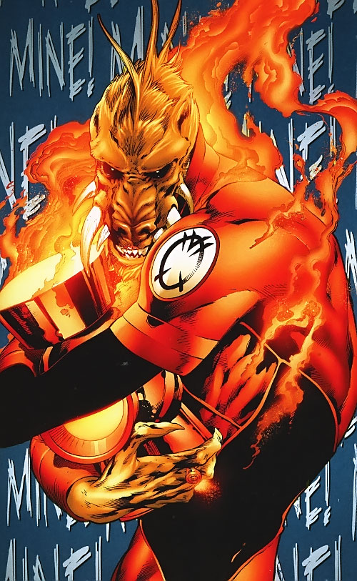 Larfleeze (Orange Lantern) (DC Comics) hugging his power battery
