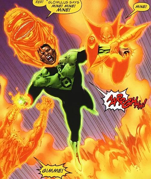Orange Lantern constructs attacking Green Lantern John Stewart