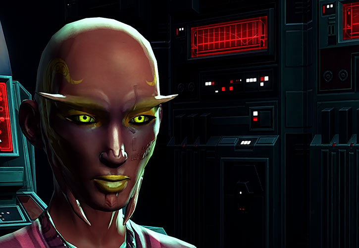 Star Wars the Old Republic - SWTOR - Sith Inquisitor - Orfenn - Face closeup darkness