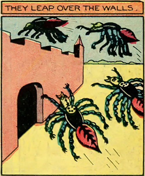 Org (Fantomah enemy) (Jungle Comics) giant spiders leap over city walls