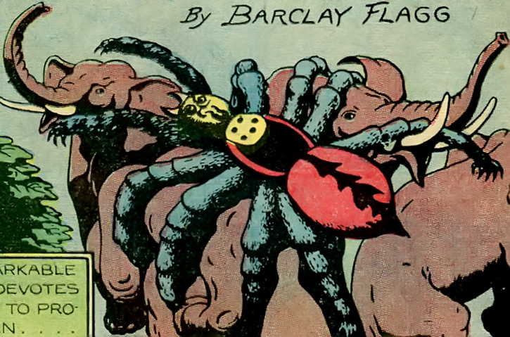 Immense spider attacking elephants -1940s comic book art