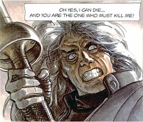 Metabaron Othon von Salza with a lance and a Klaus Kinsky expression