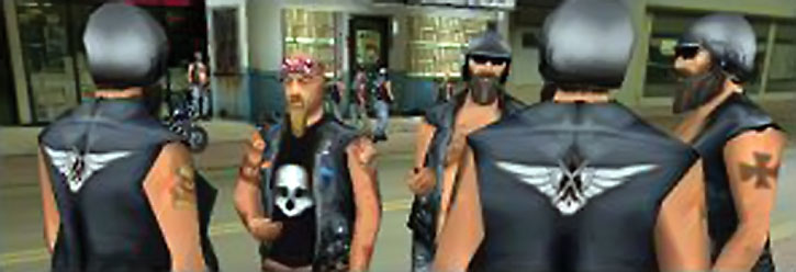 Outlaw bikers in an old video game