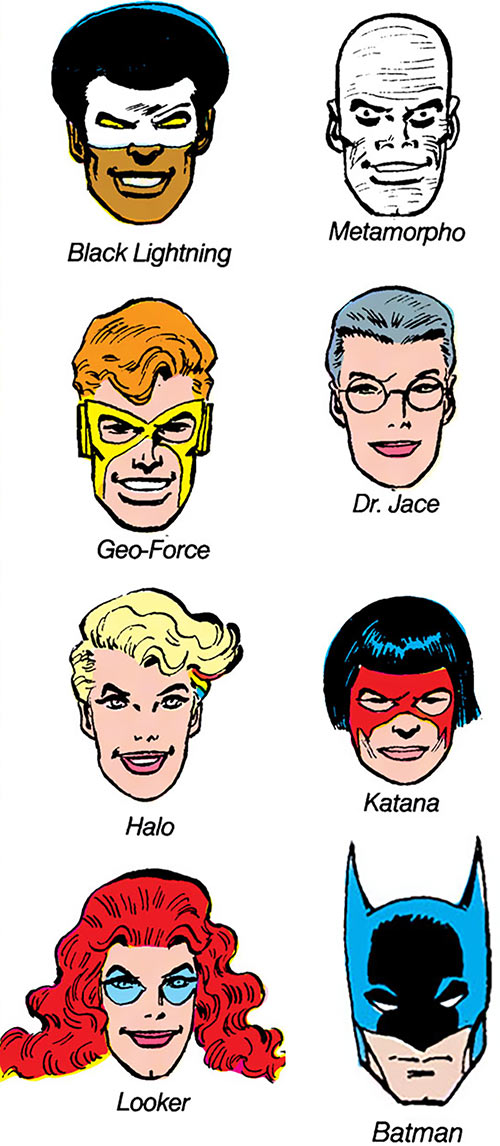 Batman and the Outsiders (DC Comics) (1983-86) portraits heads