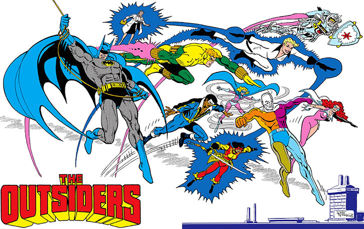 Outsiders (DC Comics) team 1986-1992 team profile -- Last team shot from the 1987 Who's Who update