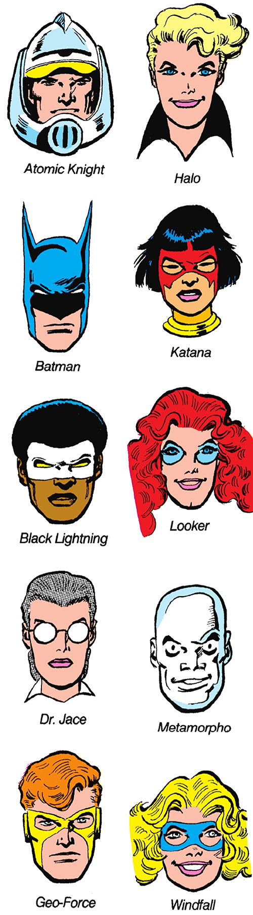 Outsiders (DC Comics) team 1987 Who's Who roster by Jim Aparo