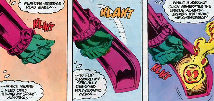 Overthrow's weapon cesta in action (DC Comics) (Blue Beetle)