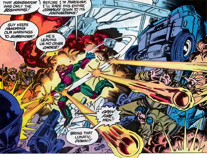 Overthrow wrecks Kord security (DC Comics) (Blue Beetle)