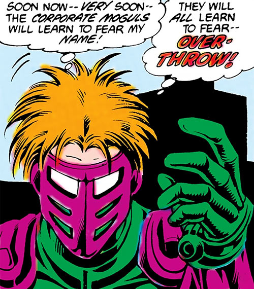 Overthrow (Blue Beetle enemy) (DC Comics) mask closeup
